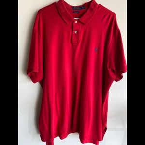 Men's red Polo custom fit collared shirt. Size 2XL